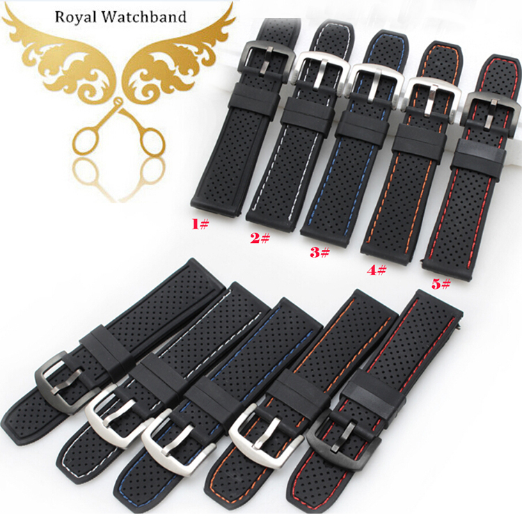 Promotion New Rubber silicone Watchband 24mm Black Stainless steel Buckle Diving Racing Watch Straps Red Stitched Free shipping 28mm new high quality red waterproof diving silicone rubber watch bands straps