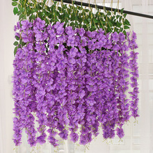 New Encrypted 12pcs/lot Artificial Silk Wisteria Flower Vines hanging Rattan Bride flowers Garland For Home Party Wedding Decor