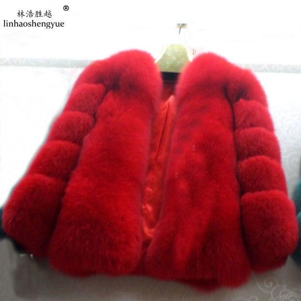 Linhaoshengyue Долго 55 см новый 2014 длинные старший литий лиса шубу зеленый синий красный желтый белый