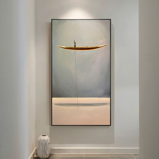 Flying Boat and Abstract Landscape Canvas Painting