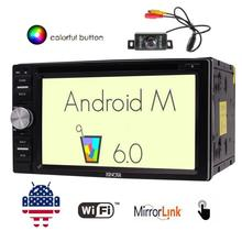 """6.2"""" Car DVD Player with Android6.0 Double Din Car GPS Navigation in Dash Bluetooth External Mic Wifi Morror link+Backup Camera"""