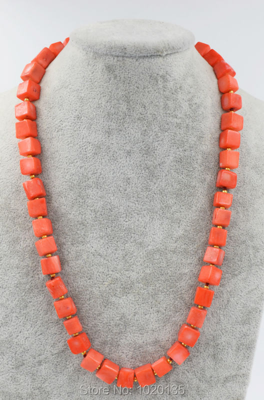 orange pink coral square necklace 21inch nature beads wholesale discounts 8-10mm