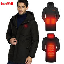 SNOWWOLF 2019 Men Winter White Duck Down Jacket Fishing Clothes USB Heated Hooded Outdoor Thermal Fishing Hiking Camping Coat недорого