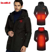 SNOWWOLF 2019 mężczyźni zimowa biała kurtka puchowa ubrania wędkarskie USB podgrzewana z kapturem Outdoor Thermal Fishing Hiking Camping Coat(China)