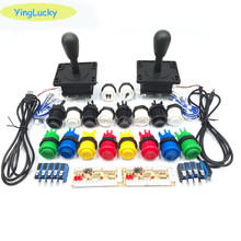 2 Players Arcade DIY Kit Zero Delay USB Encoder American Style Joystick 28mm Push Button PC Mame Raspberry pi 1 2 3(China)