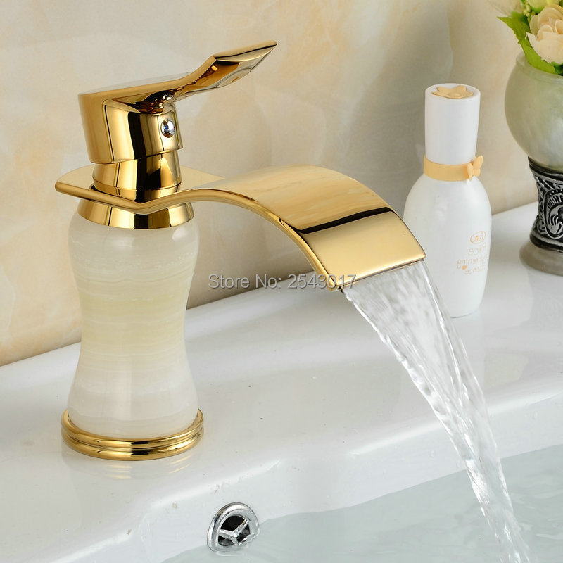 Offre spéciale populaire salle de bains doré cascade robinets marbre pierre évier mélangeur robinets mode bassin évier pia do banheiro ZR463