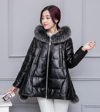 2016 New Women Winter Real Fox Fur Collar Hooded Jacket 100% Genuine Sheep Skin Leather Duck Down Leather Coat Parka Oversize