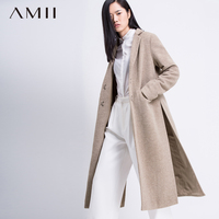 Amii Casual Women Woolen Coat 2017 Winter Long Slits Solid Covered Button Female Wool Blends