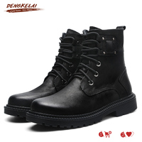 DENGKELAI Winter Snow Boots Genuine Lether Shoes Men Military Boot High Quality with Fur Warm Motorcyling Leather Boots
