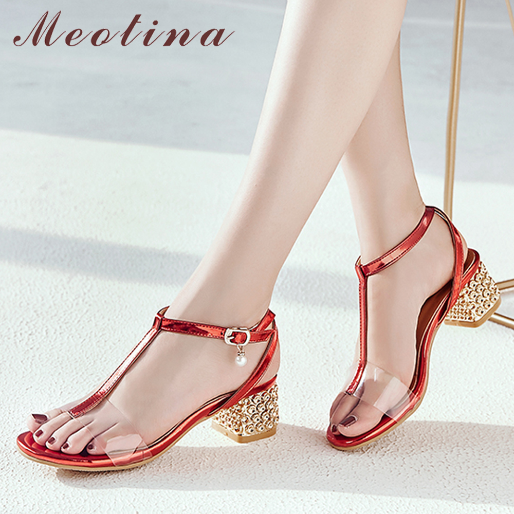Meotina Women Sandals Summer Shoes Transparent Block Heels T-Strap Shoes Buckle Open Toe Party Sandals Female Red Big Size 33-43