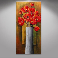 Hand Painted Abstract Red Flower Oil Painting on Canvas Acrylic Floral Paintings Pallete Knife Modern Home Wall Art Picture Oils