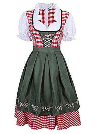 Dirndl Set 2 Part Checker For Costume Dress With Matching Apron, Pink With Dark Green Cosplay Costume
