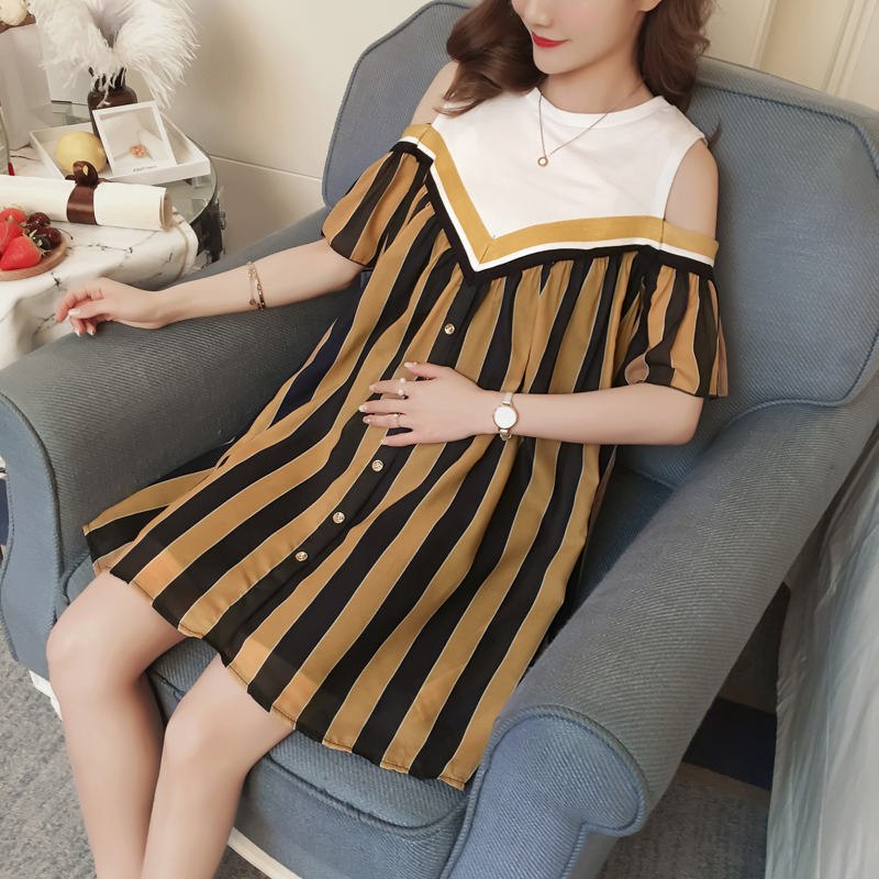 Striped Maternity Dress Formal Summer Pregnancy Clothes Fashion Patchwork Chiffon Maternity Clothing Of Pregnant Women