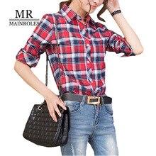 MAINROLES 2017 New Top Women Autumn Shirt Long Sleeves Plaid Shirt Leisure Lapel POLO Blouse Women Cotton Blouses Plus 2XL Shirt