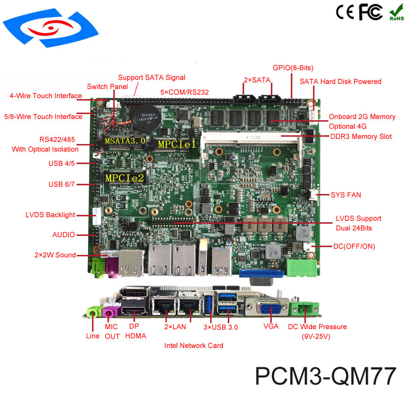 Factory Wholesale Industrial Embedded Motherboard With Intel Core I5 I7 And QM77 Onboard For Industrial Personal Computer