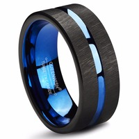 Queenwish Mens Tungsten Rings 8mm Wedding Band Blue Center Groove Black Line Brushed Couples Engagement Rings Antique Jewelry