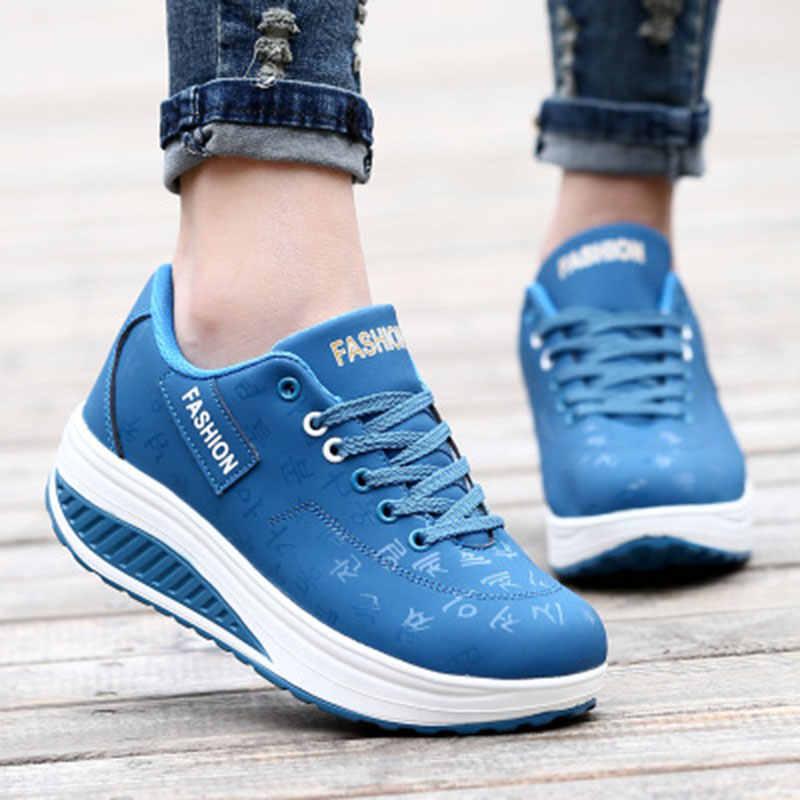 2019 zapatos de mujer creepers transpirables zapatos de cuero de pu zapatos de mujer de encaje suave casual zapatos planos mujeres Zapatillas tenis Femenino