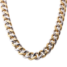 Mens 13/15MM Thick Chain Necklace Fashion Silver Gold 316L Stainless Steel Link Cuban Curb For Men Neck Jewelry