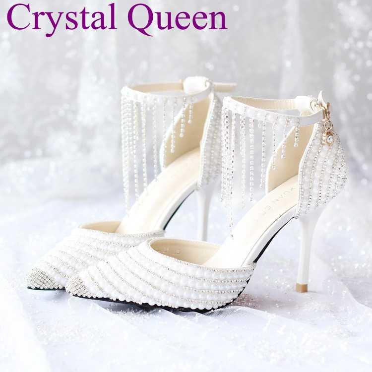 8a2003ae25 Blanco de perlas de diamantes de imitación borla pulsera sandalias de  tacones de novia zapatos de