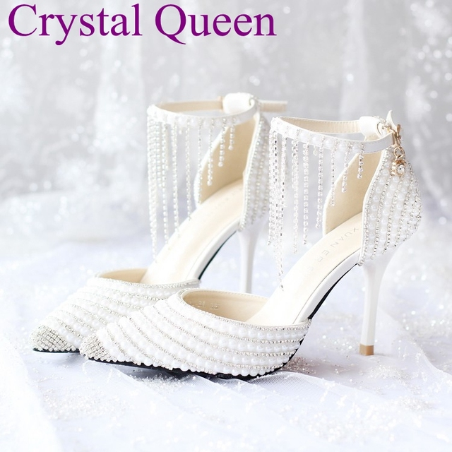 White pearl rhinestone tassel bracelet thin heels sandals bridal shoes  pointed toe wedding shoes high heels sandals for women cc876149d22a