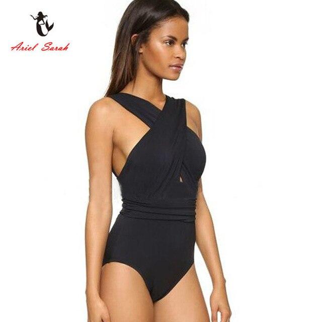 86885de4965a5 Ariel Sarah Brand 2018 Sexy Swimwear Women Halter Monokini One Piece  Swimsuit Maillot De Bain Femme