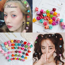 200 Pcs Hair Claws Wholesale Baby Girls Small Hair Claw Cute Candy Color flower Hair Jaw Clip Children Hairpin Hair Accessories candy ccfa 200