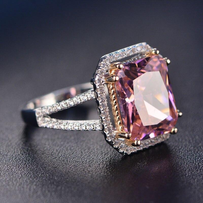 HTB1RkvJPNnaK1RjSZFBq6AW7VXaV PANSYSEN 100% Solid 925 Silver Jewelry Rings For Women 10x12mm Pink Spinel Diamond Fine Jewelry Bridal Wedding Engagement Ring