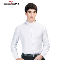 Seven7 뜨거운 남성 드레스 셔츠 중국어 패턴 만다린 칼라 사회 슬림핏 셔츠 남성 캐주얼 긴 소매 남성 블라우스 111A39030