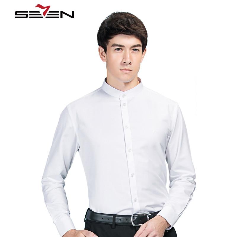 Seven7 Hot Mens Dress Shirts Chinese Pattern Mandarin Collar Social Slim Fit Shirt Men Casual Long Sleeve Male Blouse 111A39030