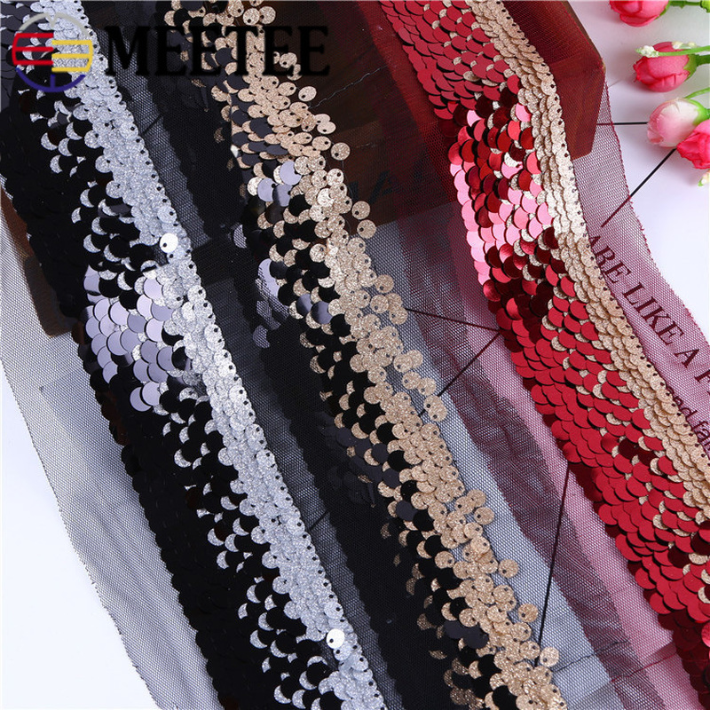 Meetee 5yards 9cm Sequins Embroidered Mesh Lace Webbing DIY Scarf Tablecloth Bag Clothing Home Decoration Craft Accessory BD425 in Lace from Home Garden