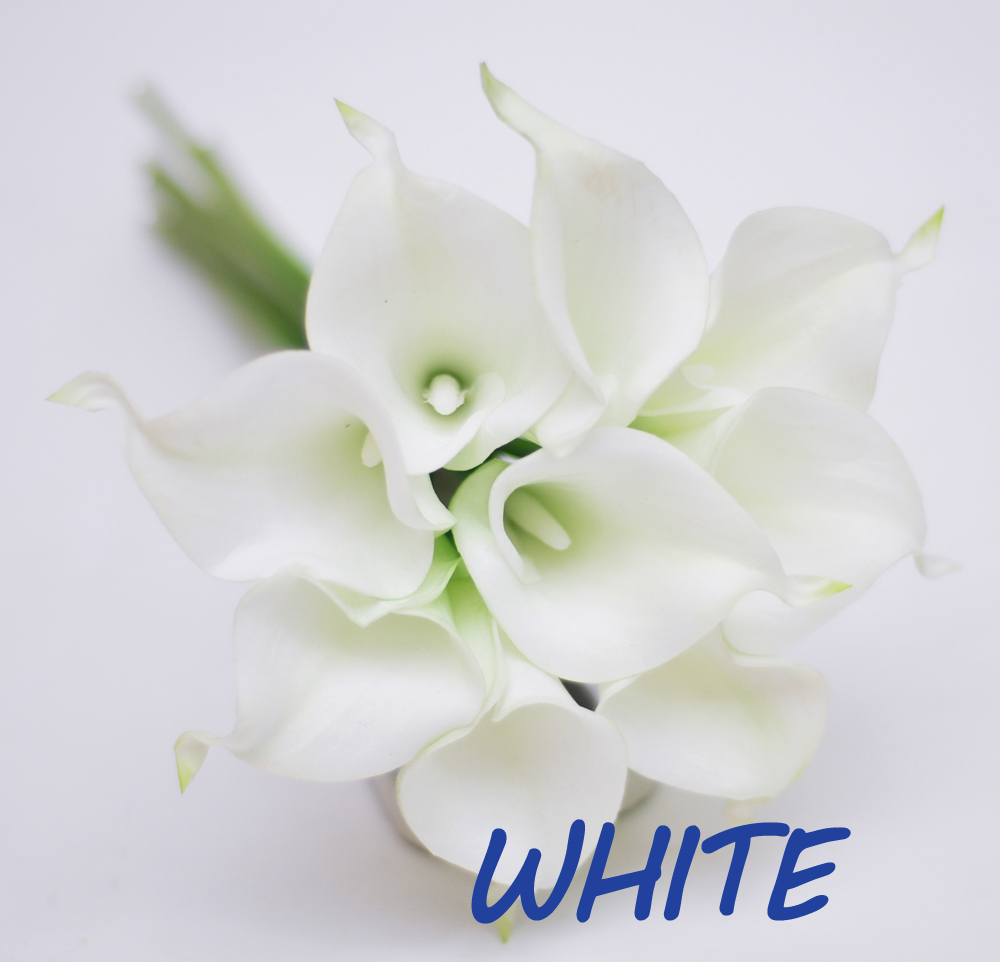 9pcs White Ivory Real Touch Artificial Picasso Calla Lilies Flower
