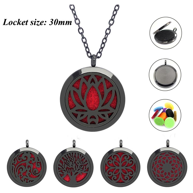 With chain as Gift! Black 30mm magnetic new aromatherapy diffuser locket necklace 316L stainless steel perfume locket jewelry