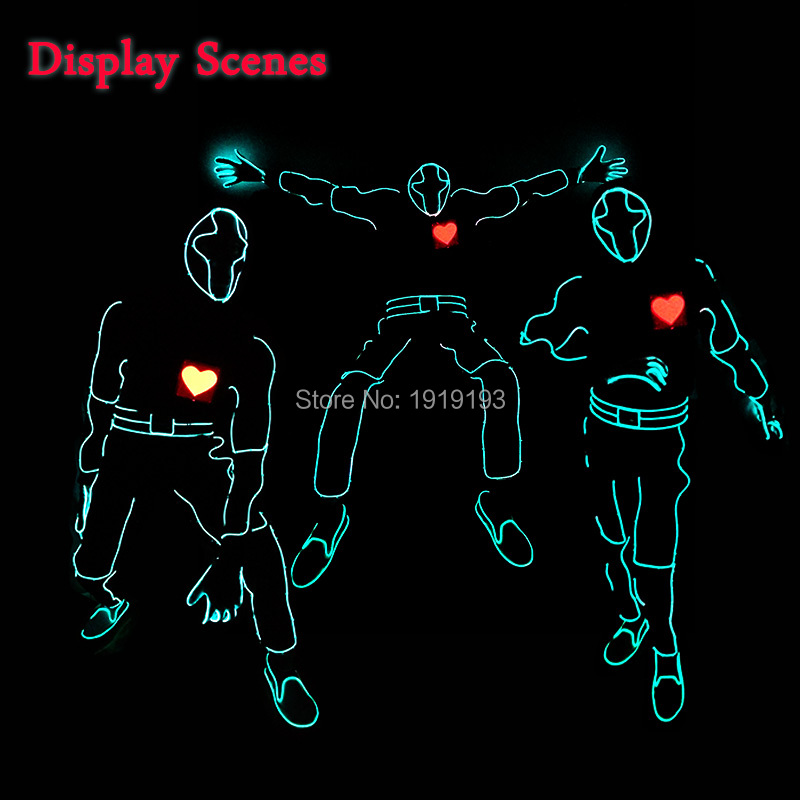 New Fashion Red heartbeat Men LED suits EL wire glowing Clothes holiday lighting hoodie for DIY Party Clothes Accessories