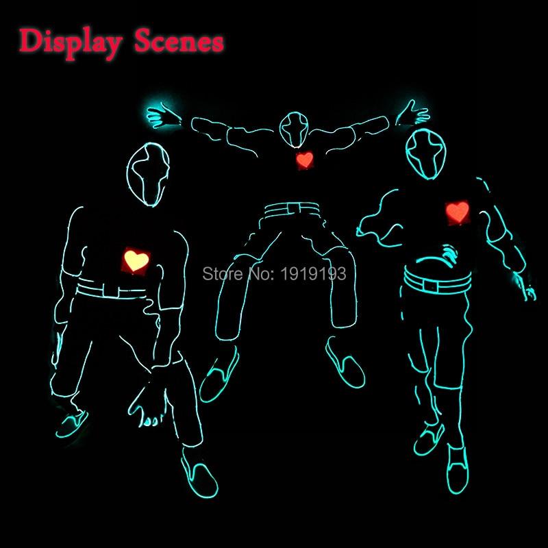 New Fashion Red Heartbeat Män LED-passar EL tråd glödande Kläder - Festlig belysning - Foto 1