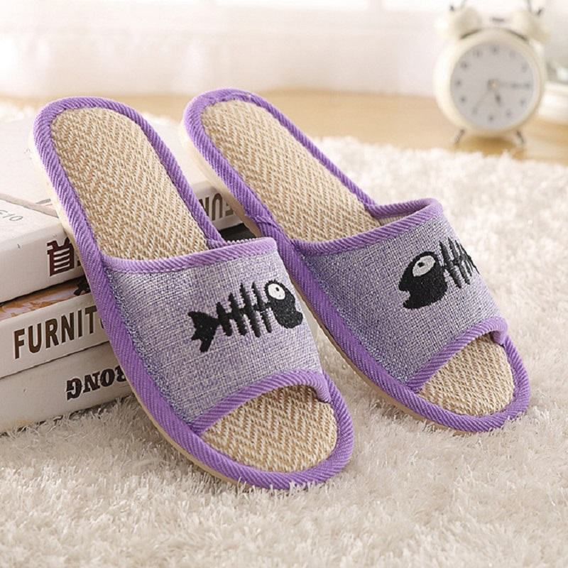 Men Home Slippers Women Summer House Slippers Linen Indoor Sandal Non Slip Couple Floor Slippers Pantufa