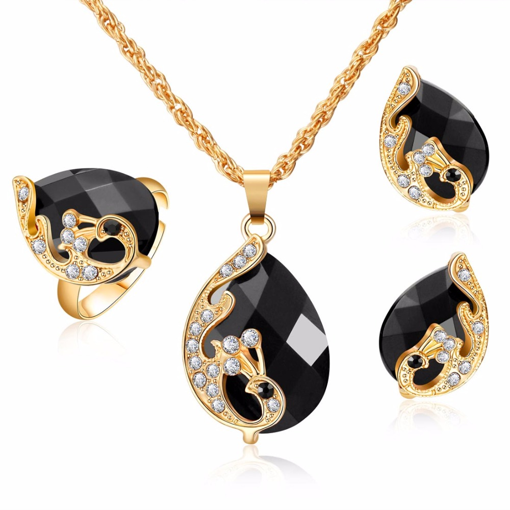 Dark Zircon Bridal Gold colorJewelry Sets Women Pendant&Necklace Ring Earrings With Natural Stones Bracelets Jewelery Gift men beaded bracelet red