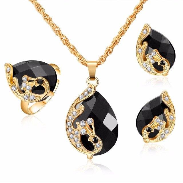כהה זירקון כלה זהב את סטי נשים תליון & שרשרת טבעת עגילי עם אבנים טבעיות צמידי תכשיטי מתנה