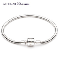ATHENAIE 925 Sterling Silver Snake Chain Charm Bracelet Fit For European Charm Beads