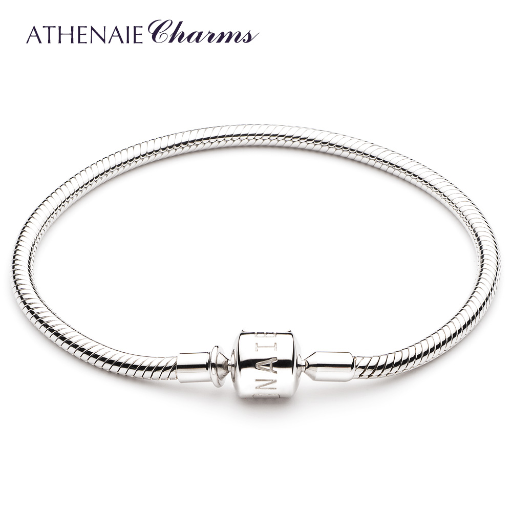 ATHENAIE 925 Sterling Silver Snake Chain Charm Bracelet Fit for European Charm Beads genuine 925 sterling silver snake charm bracelet