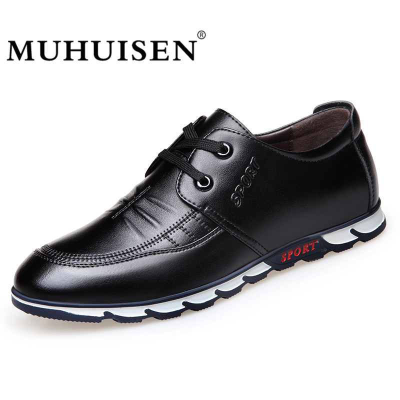 MUHUISEN New Mens Casual Shoes PU Leather Shoes For Men Lace-up Breathable Fashion Summer Autumn Sports Flats Male Walking Shoes 2017 mens casual shoes hot sale mens trainers for men lace up breathable fashion summer autumn flats male shoes adult sneakers