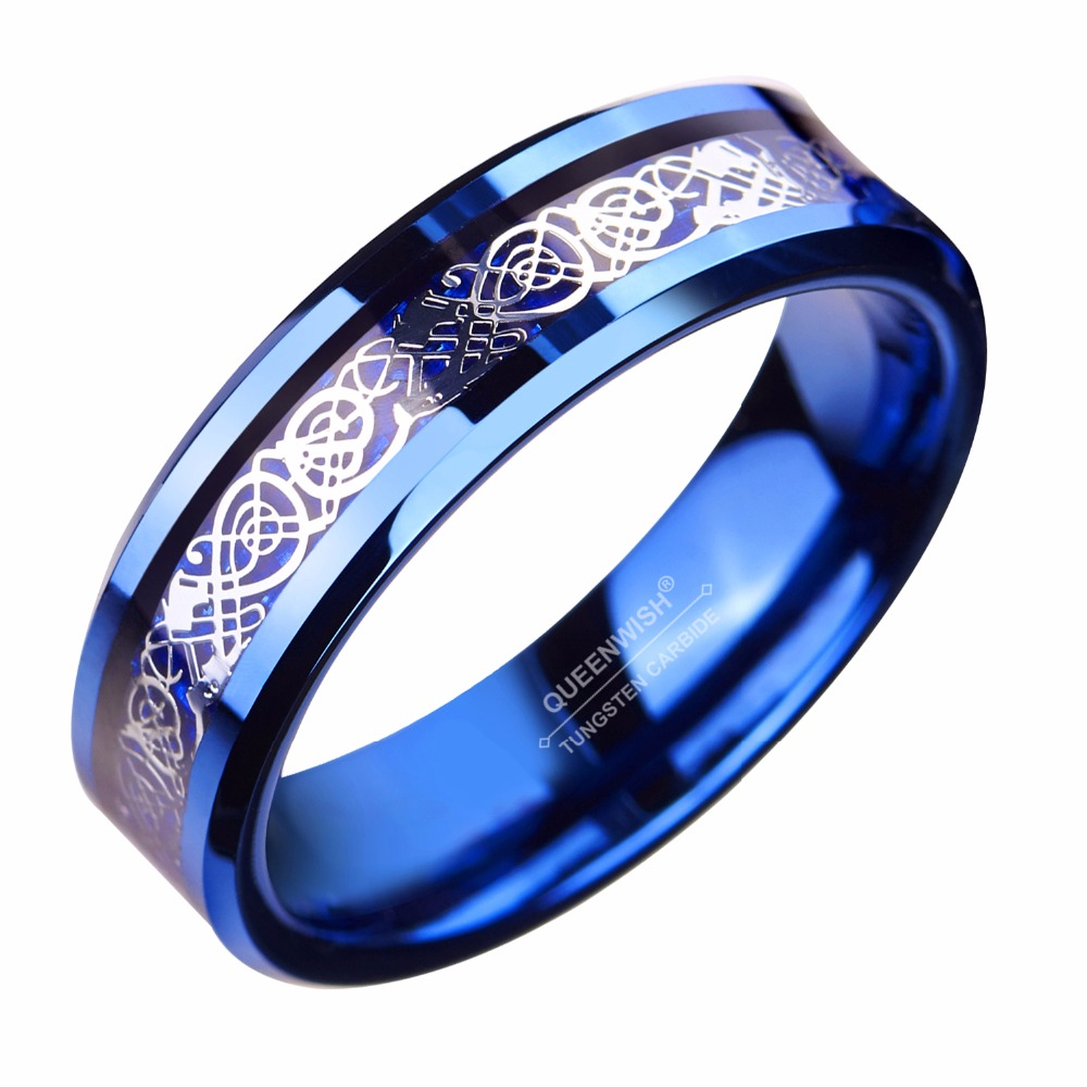 6mm Blue Tungsten Ring Sliver Color Celtic Dragon Wedding Bands