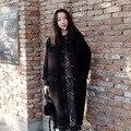 [XITAO] 2016 chegada nova Coreia Do estilo de inverno mulheres soltas gola Redonda longo trincheira casuais casaco feminino estilo de rua preto CMF001