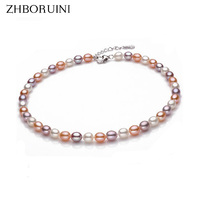 2015 Fashion Necklace Pearl Jewelry Natural Freshwater Pearls 8 9mm Mix Color Pearl Choker Necklace 925