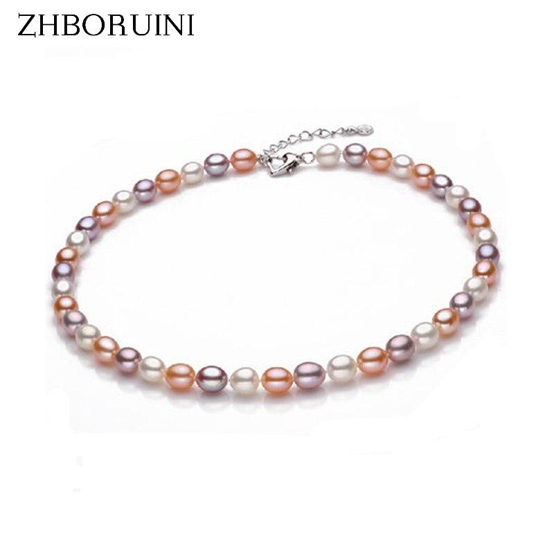 ZHBORUINI aukštos kokybės perlų karoliai perlų papuošalai natūralus gėlavandenių perlų karoliai 925 sidabro papuošalai moterims dovanoms