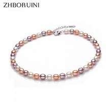 2015 Fashion Necklace Pearl Jewelry Natural Freshwater Pearls 8-9mm Mix-color Pearl Choker Necklace 925 Sterling Silver Jewelry