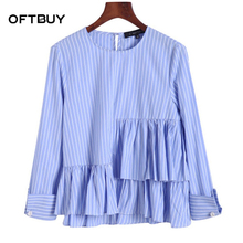 OFTBUY 2017 new spring summer college fashion cropped white blue pearl ruffles asymmetrical striped blouse women shirt crop tops