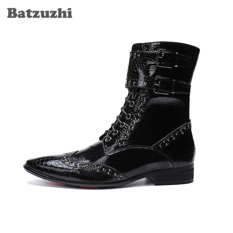 Batzuzhi Fashion Leather Boots Men Pointed Toe Military botas hombre Men Korean Black Dress Ankle Boots Male Buckles Big US6 12 in Motorcycle boots from Shoes