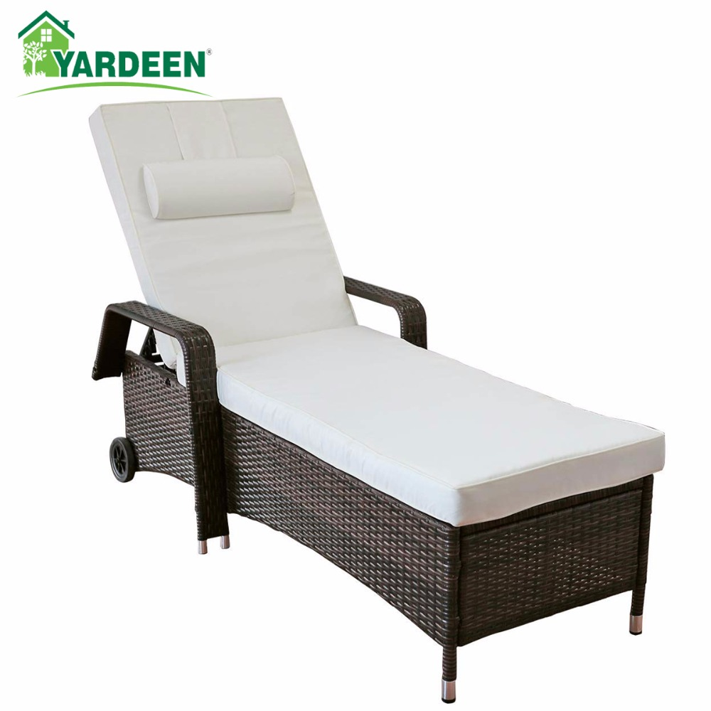 Yardeen Rattan Lounge Chaise All Weather Adjustable Outdoor Recliner Chair Patio Furniture with Armrest and Removable Cushions