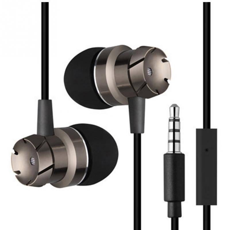 3.5mm Metal Headphones Phone Earphones Volume Control Auriculares Mic Player Headset For Android IOS PC Wired Player Headphone