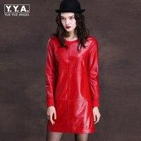 Luxury Women Punk Sheepskin Genuine Leather Dress 2018 Mini A Line Rock Pullover Robe Spring Long